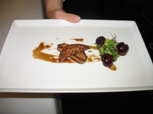 Hudson Valley foie gras with preserved cherries.